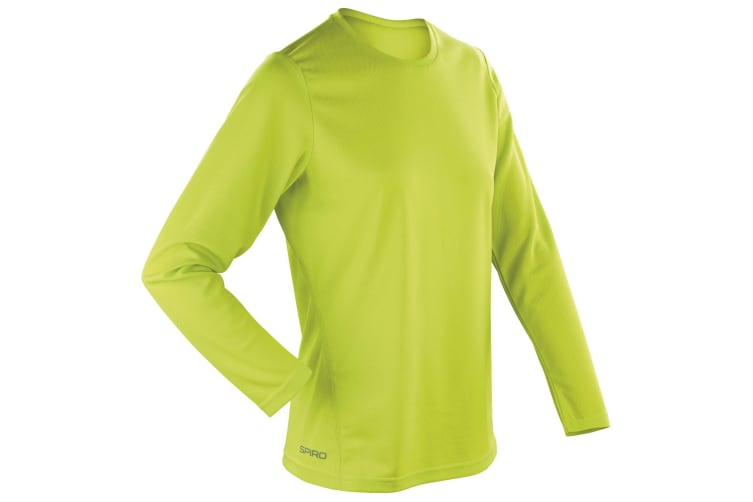 Spiro Ladies/Womens Sports Quick-Dry Long Sleeve Performance T-Shirt (Lime Green) (S)