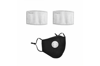 Black Washable Reusable PM2.5 Anti Air Pollution Face Mask With Respirator &2 Filters-1 Packs