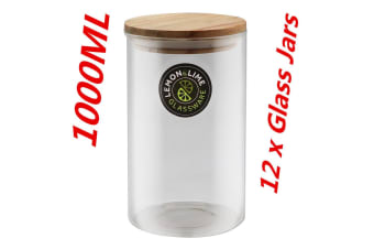 12 x1000ML Food Storage Jar 1L Glass Jars Canister Container Wooden Lid Tube Tubs WM