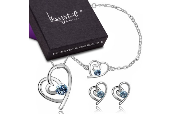 Tayla Swift Bracelet, Necklace & Earring Set w/Swarovski Crystals-White Gold/Blue