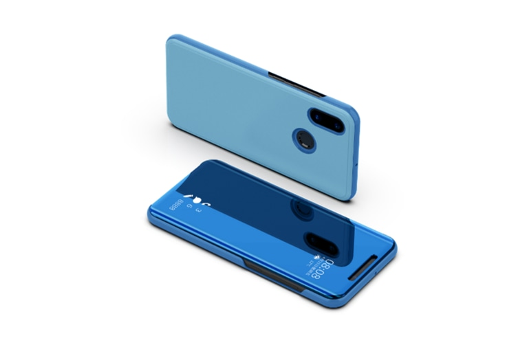 Mirror Case Translucent Flip Full Protection Mobile Phone Stand For Xiaomi Blue Xiaomi Note3