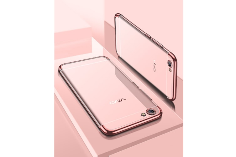 Three Section Of Electroplating Tpu Slim Transparent Phone Shell For Vivo Rose Gold Vivo X20Plus