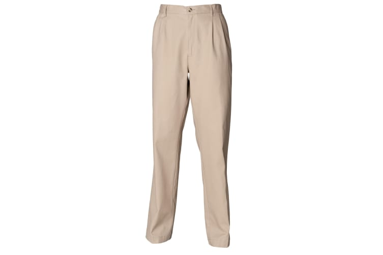 Henbury Mens Teflon® Stain Resistant Coated Pleated Chino Work Trousers / Pants (Stone) (32 x Long)