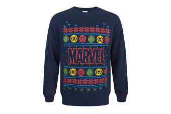 Marvel Adults Official Fairisle Logo Christmas Sweatshirt (Blue)