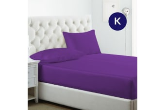 King Size Purple 1000TC Silk Silky Feel Satin Fitted Sheet+Pillowcase