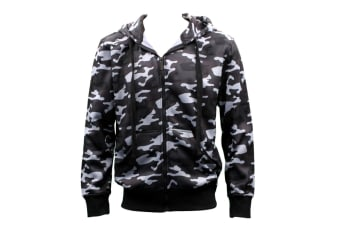OZEMOCEAN Adult Men's Zip Up Hoodie w Fleece Camouflage Camo Military Print Hooded Jacket[Size: S]