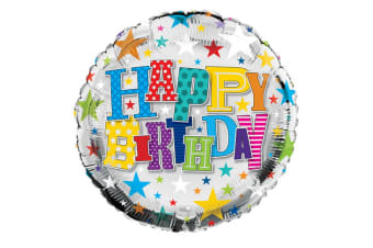 Simon Elvin 18 Inch Happy Birthday Starry Round Foil Balloon (Multicoloured) (One Size)