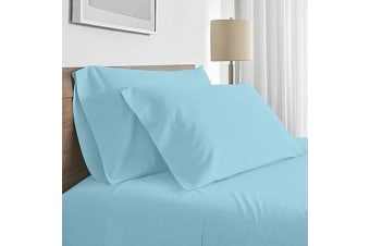 Valeria 1000TC Ultra Soft Super King Bed Sheet Set - Light Blue
