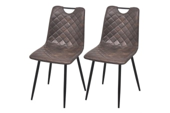 vidaXL Dining Chairs 2 pcs Artificial Leather Dark Brown