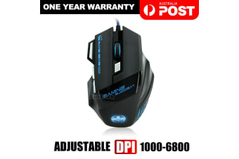 AU USB 6800DPI LED Wired Optical Backlight Gaming Mouse Support Pro 7 Button New-Black