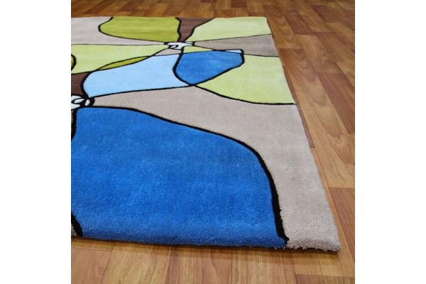 Organic Flower Design Rug Blue Green 280x190cm