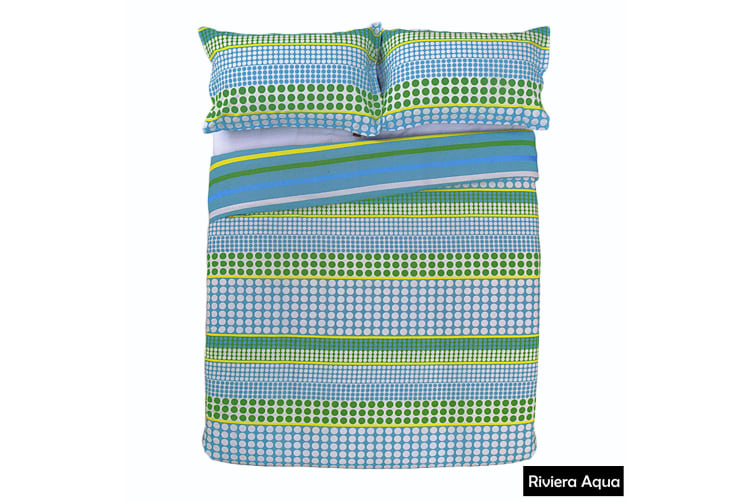 Riviera Reversible Quilt Cover Set AQUA King by Apartmento