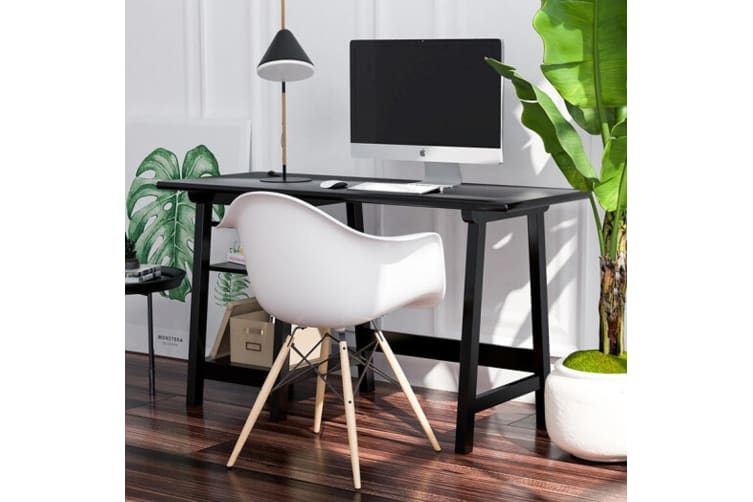 Office Home Computer Desk Wooden Student Study Table Workstation Shelf Black