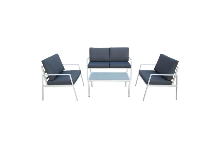 Layton 4 Seater Outdoor Sofa Set With Glass Top Coffee Table