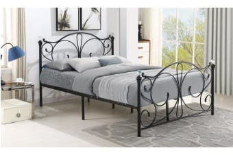 King Size French Metal Bed Frame BLACK