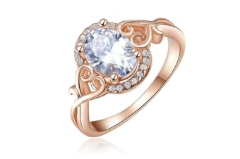 Rose Gold Plated Twist Ziron Ring 6