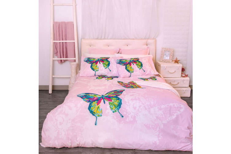 Retro Home Butterfly Quilt Cover Set King