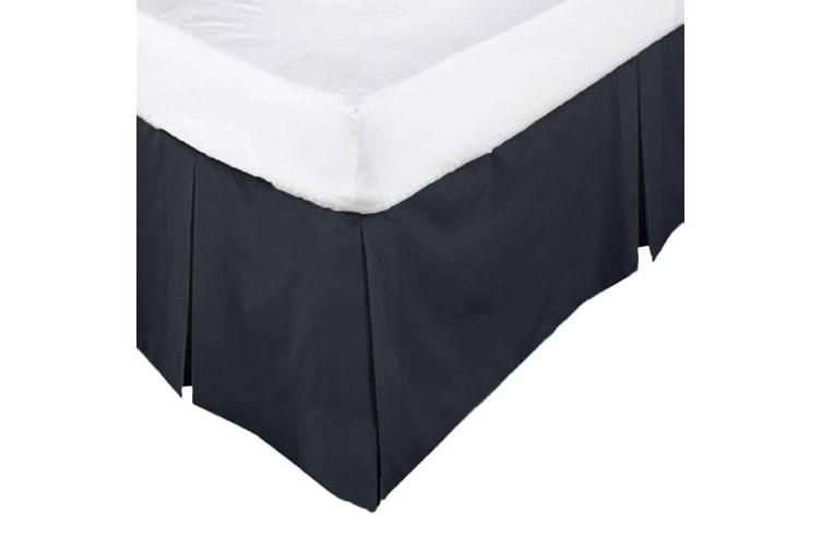ASSUN Box Pleated Valance Black KING SINGLE