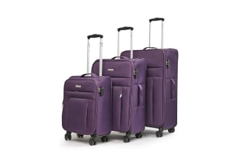 Conwood SureLite 3pc Suitcase Luggage Set Purple Soft Trolley Bag Lightweight