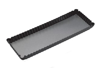 Bakemaster Loose Base Fluted Rectangular Flan/Quiche Pan 36x13x3.5cm