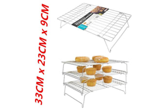 3-Tier Cake Cooling Stainless Steel Wire Rack Stack-able Kitchen Stand Baking Display Food