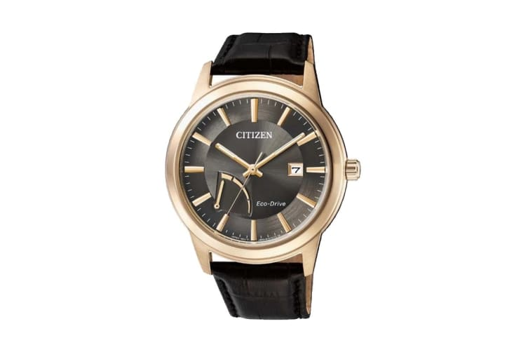 Citizen Men's Analog Eco-Drive Watch with Date, Power Reserve Indication & Leather Strap - Black/Gold (AW7013-05H)