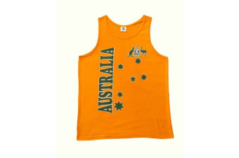Mens Singlet T Shirt Australian Australia Souvenir Cotton - Green &  Gold / Flag- Green & Gold