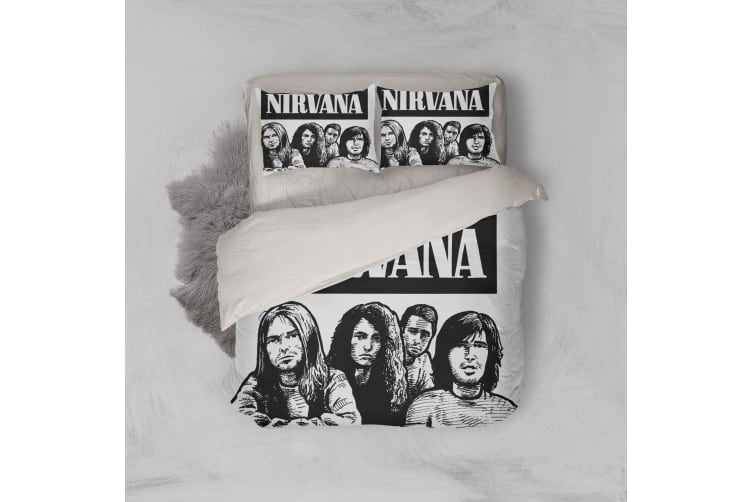 3D Band Nirvana Quilt Cover Set Bedding Set Pillowcases 157-Single