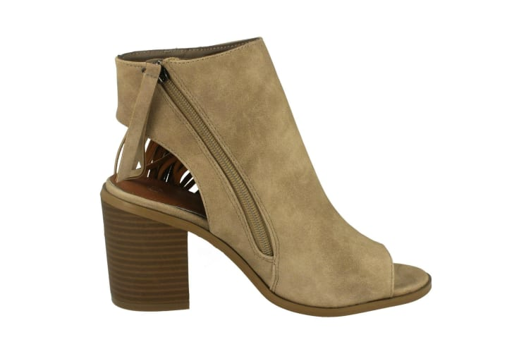 Spot On Womens/Ladies Open Ankle Boots With Tassels (Beige) (UK Size 3)