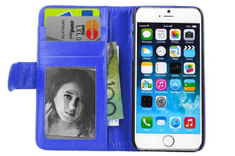 Blue Folio Wallet Stand Pu Leather Case Cover/Card Holder For iPhone 6/6S Plus