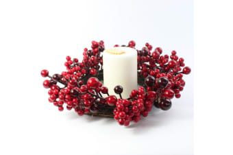 "25cm 10"" Christmas Red Berry Wreath Xmas Table Candle Holder Decor Centrepiece"