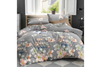 Giselle Bedding Quilt Cover Set Queen Bed Doona Duvet Reversible Sets Flower Pattern Grey