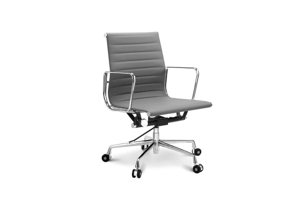 Ovela Executive Eames Replica Low Back Ribbed Office Chair Grey - Grey office chair