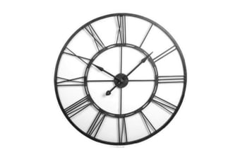 Abli 101cm Wall Clock Time Quartz Analogue Roman Numerals Frame Home Decor Black
