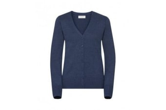 Russell Collection Ladies/Womens V-neck Knitted Cardigan (Denim Marl) (S)