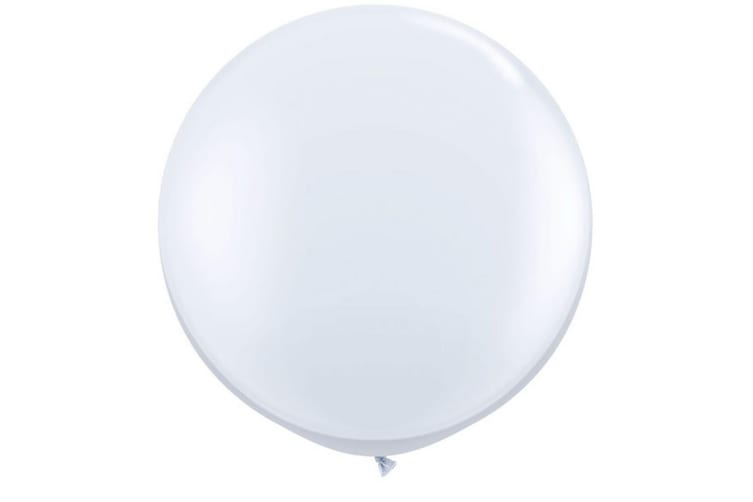 Qualatex 3 Ft Round Plain Latex Balloons (2 Pack) (White) (One Size)