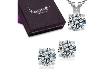 .925 Martini Necklace And Earrings Set-Silver/Clear