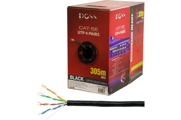 Doss 305M Cat5E Solid Cable Black