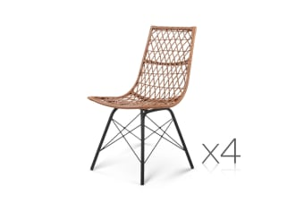 Set of 4 Rattan Wicker Outdoor Dining Chairs