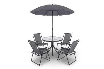 Gardeon 6 Piece Round Outdoor Dining Set - Grey