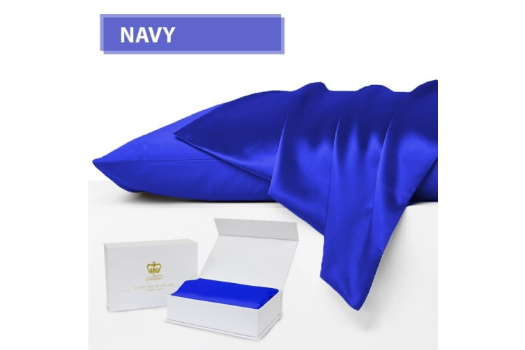 Luxor Crown Set of 2 Mulberry Silk Fronted Pillowcases NAVY
