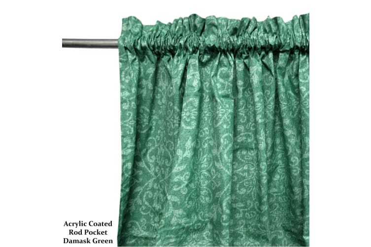 Pair of Acrylic Coated Damask Green Rod Pocket Curtains