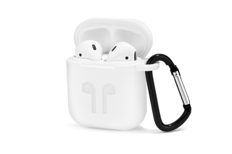 AirPods Case with Strap Protective Silicone Cover with Carabiner for Apple Airpods Accessories White