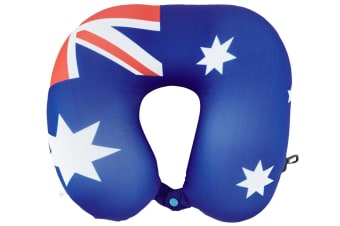 Australian Flag Micro Bead Neck Cushion/Support Travel Pillow w/ Clip/Button BL