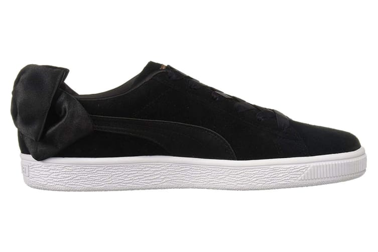 PUMA Women's Suede Bow Shoe (Black, Size 7.5)