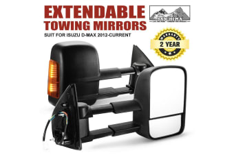 SAN HIMA SAN HIMA Pair Towing Extendable Side Mirrors for Isuzu D-MAX 2012-ON BLACK