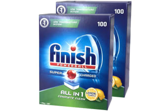 200PK Finish Tabs All in 1 Lemon Tablets Powerball Super Charged for Dishwasher