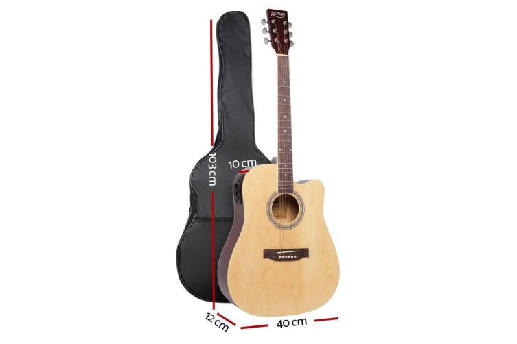 "Alpha 41"" Inch Electric Acoustic Guitar Wooden Classical Full Size Amp Natural"