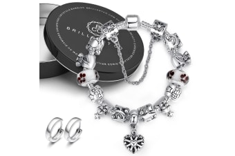 Boxed Pandora Inspired Full Set Beaded Charm Bracelet