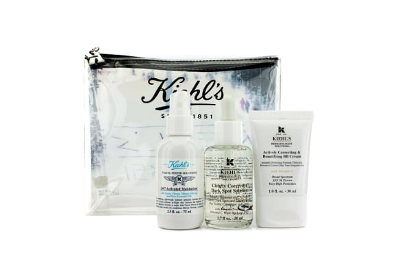 Kiehl's BB Cream Set: 24/7 Activated Moisturizer + Clearly Corrective Dark Spot Solution + BB Cream + Bag (3pcs+1bag)